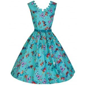 NWT Daria' Scalloped Neckline 1950s Swing Dress